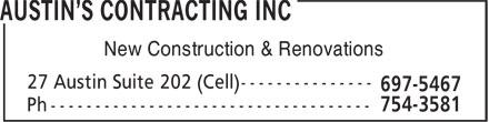 Austin's Contracting Inc (709-697-5467) - Annonce illustrée======= - New Construction & Renovations