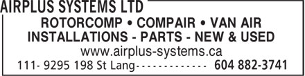 Airplus Systems Ltd (604-882-3741) - Annonce illustrée======= -