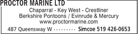 Proctor Marine Ltd (519-426-0653) - Annonce illustrée======= - Berkshire Pontoons / Evinrude & Mercury www.proctormarine.com Chaparral - Key West - Crestliner Berkshire Pontoons / Evinrude & Mercury www.proctormarine.com Chaparral - Key West - Crestliner