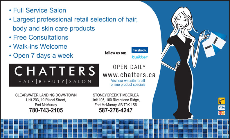Chatters Salon (780-743-2105) - Display Ad - SH SALO BE UT TTER SH SALO UT TTER BE AIR SSALO NCH CHATTER AIR SSALO NCH CHATTER
