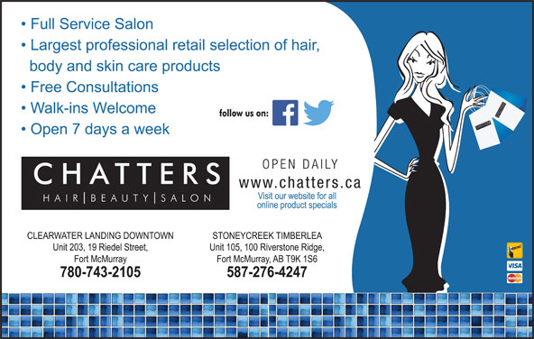 Chatters Salon (780-743-2105) - Display Ad - SH SALO UT TTER BE AIR SSALO NCH SH SALO CHATTER UT TTER BE AIR SSALO NCH CHATTER