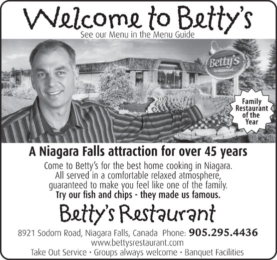 Betty's Restaurant (905-295-4436) - Annonce illustrée======= - 905.295.4436