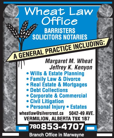 Wheat Law Office (780-853-4707) - Annonce illustrée======= -