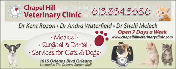 Chapel Hill Veterinary Clinic (613-834-5686) - Display Ad - www.chapelhillveterinaryclinic.com www.chapelhillveterinaryclinic.com
