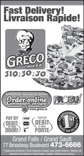 Greco Pizza (310-3030) - Annonce illustrée======= -