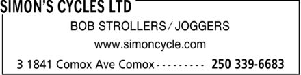 Simon's Cycles Ltd (250-339-6683) - Display Ad - BOB STROLLERS ¿ JOGGERS www.simoncycle.com