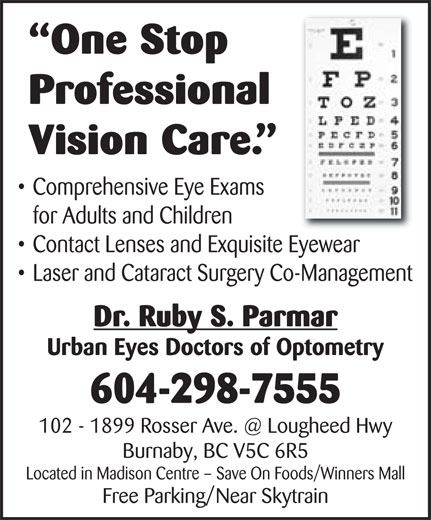 Urban Eyes Doctors of Optometry (604-298-7555) - Annonce illustrée======= -