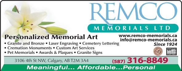 Remco Memorials Ltd (403-276-5649) - Annonce illustrée======= - 3106 4th St NW, Calgary, AB T2M 3A4 (587) 316-8849 3106 4th St NW, Calgary, AB T2M 3A4 (587) 316-8849