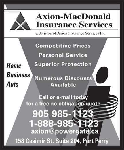 Axion-MacDonald Insurance Services (905-985-1123) - Display Ad -