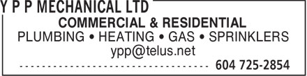 Y P P Mechanical Ltd (604-872-0036) - Annonce illustrée======= -