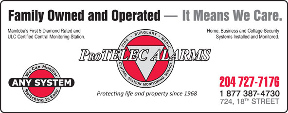 Protelec Alarms (204-727-7176) - Display Ad -