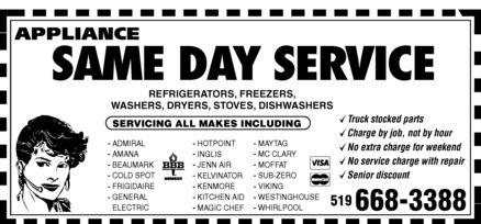Appliance Same Day Service On