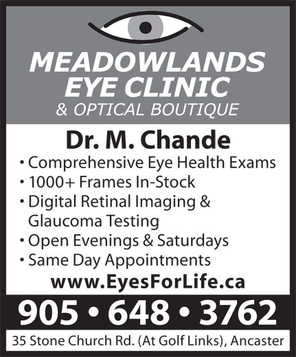 Meadowlands Eye Clinic & Optical Boutique (905-648-3762) - Display Ad -