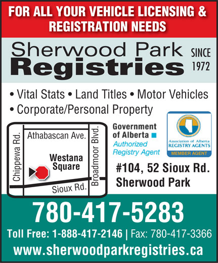 Sherwood Park Registries (780-417-5283) - Display Ad -