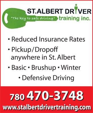 St Albert Driver Training Inc (780-470-3748) - Annonce illustrée======= -