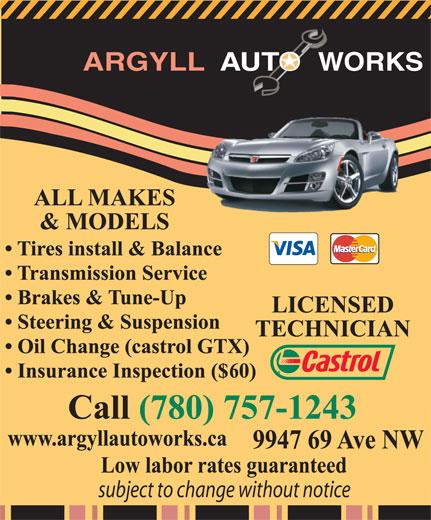 Argyll Auto Works (780-757-1243) - Display Ad -