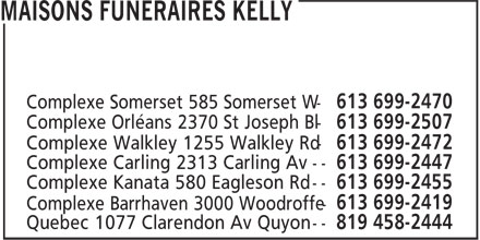 Maisons Funéraires Kelly (613-699-2470) - Annonce illustrée======= -