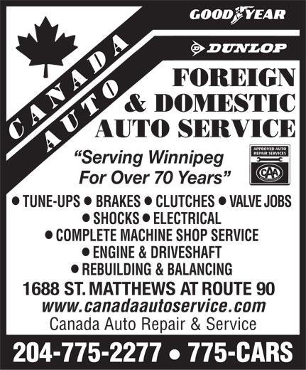 Canada Auto Repair & Service (204-775-2277) - Annonce illustrée======= -