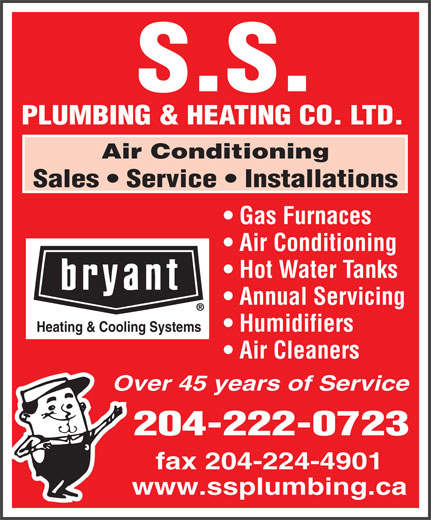 S S Plumbing & Heating Co Ltd (204-222-0723) - Annonce illustrée======= -