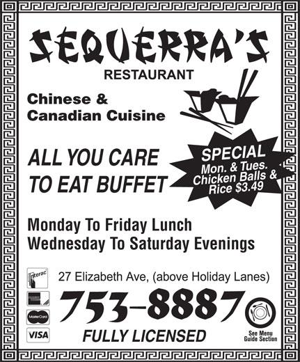 Sequerra's Restaurant (709-753-8887) - Annonce illustrée======= -