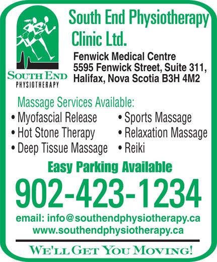 South End Physiotherapy Clinic Ltd (902-423-1234) - Display Ad -