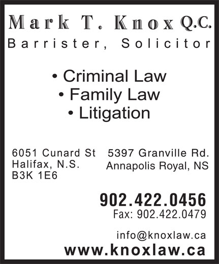Mark Knox T QC (902-422-0456) - Display Ad - Annapolis Royal, NS 902.422.0456 Fax: 902.422.0479 Annapolis Royal, NS 902.422.0456 Fax: 902.422.0479