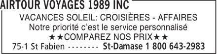 Airtour Voyages 1989 Inc (450-797-2983) - Annonce illustrée======= - VACANCES SOLEIL: CROISIÈRES - AFFAIRES Notre priorité c'est le service personnalisé **COMPAREZ NOS PRIX**