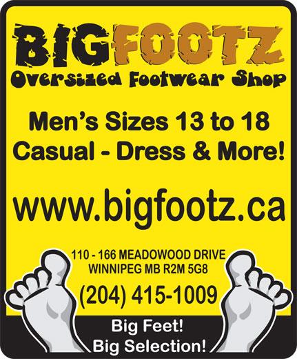 Big Footz Oversized Sneaker Shop (204-415-1009) - Annonce illustrée======= -