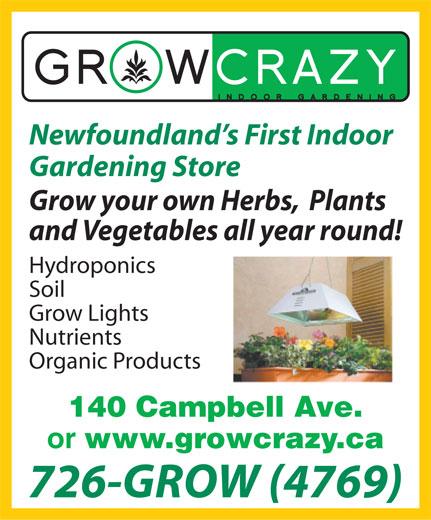 Grow Crazy (709-726-4769) - Display Ad -