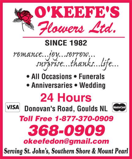 O'Keefe's Flowers Ltd (709-368-0909) - Display Ad -