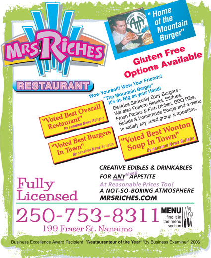 Mrs Riches Club Cafe (250-753-8311) - Annonce illustrée======= -