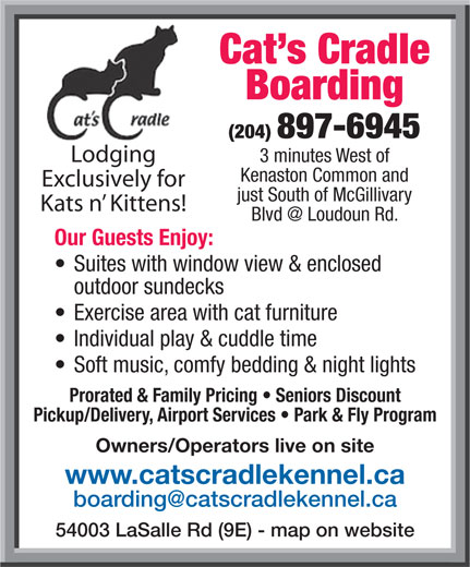 Cat's Cradle Boarding Kennel 2006 (204-897-6945) - Display Ad -