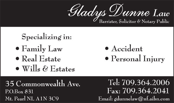 Dunne & Baker Law (709-364-2006) - Display Ad -