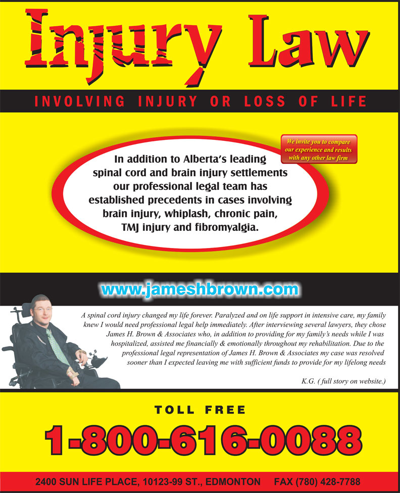 James H. Brown & Associates (1-800-616-0088) - Annonce illustrée======= -