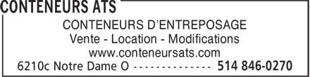 Conteneurs ATS (514-846-0270) - Annonce illustrée======= - CONTENEURS D'ENTREPOSAGE Vente - Location - Modifications www.conteneursats.com