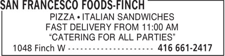 San Francesco Foods (416-661-2417) - Display Ad -