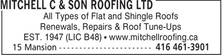 Mitchell C & Son Roofing Ltd (416-461-3901) - Annonce illustrée======= - All Types of Flat and Shingle Roofs Renewals, Repairs & Roof Tune-Ups EST. 1947 (LIC B48)   www.mitchellroofing.ca  All Types of Flat and Shingle Roofs Renewals, Repairs & Roof Tune-Ups EST. 1947 (LIC B48)   www.mitchellroofing.ca  All Types of Flat and Shingle Roofs Renewals, Repairs & Roof Tune-Ups EST. 1947 (LIC B48)   www.mitchellroofing.ca  All Types of Flat and Shingle Roofs Renewals, Repairs & Roof Tune-Ups EST. 1947 (LIC B48)   www.mitchellroofing.ca  All Types of Flat and Shingle Roofs Renewals, Repairs & Roof Tune-Ups EST. 1947 (LIC B48)   www.mitchellroofing.ca  All Types of Flat and Shingle Roofs Renewals, Repairs & Roof Tune-Ups EST. 1947 (LIC B48)   www.mitchellroofing.ca  All Types of Flat and Shingle Roofs Renewals, Repairs & Roof Tune-Ups EST. 1947 (LIC B48)   www.mitchellroofing.ca  All Types of Flat and Shingle Roofs Renewals, Repairs & Roof Tune-Ups EST. 1947 (LIC B48)   www.mitchellroofing.ca