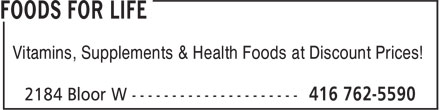 Foods For Life (416-762-5590) - Annonce illustrée======= - Vitamins, Supplements & Health Foods at Discount Prices!