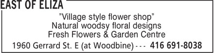 East Of Eliza (416-691-8038) - Annonce illustrée======= - Village style flower shop Natural woodsy floral designs Fresh Flowers & Garden Centre
