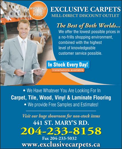 Exclusive Carpets 2008 Ltd - Winnipeg, MB - 441 St Mary's Rd ...
