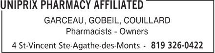 Uniprix (819-326-0422) - Display Ad - GARCEAU, GOBEIL, COUILLARD Pharmacists - Owners