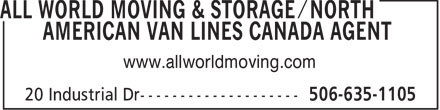 All World Moving & Storage/North American Van Lines Canada Agent (506-635-1105) - Display Ad - www.allworldmoving.com