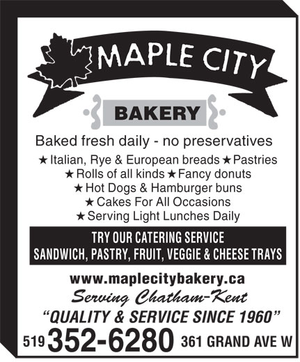 Maple City Bakery (519-352-6280) - Annonce illustrée======= -