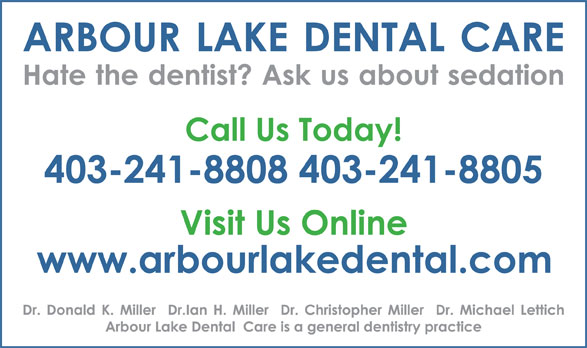 Arbour Lake Dental Care (403-241-8808) - Display Ad -