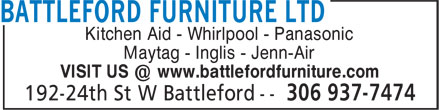 Battleford Furniture Ltd (306-937-7474) - Annonce illustrée======= - Kitchen Aid - Whirlpool - Panasonic Maytag - Inglis - Jenn-Air VISIT US @ www.battlefordfurniture.com