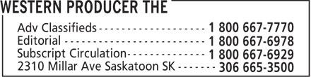 The Western Producer (306-665-3500) - Annonce illustrée======= - 2310 Millar Ave Saskatoon SK -------