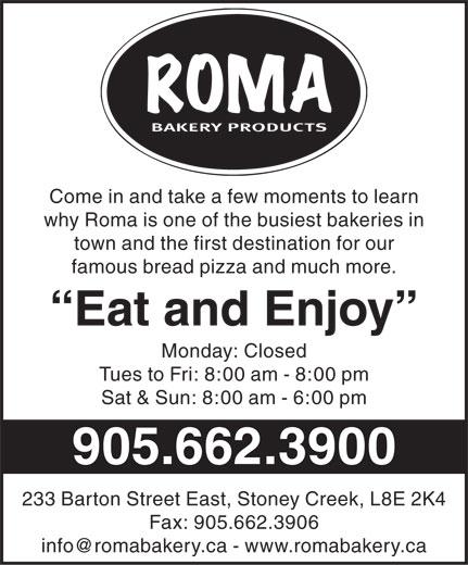 Roma Bakery (905-662-3900) - Display Ad -