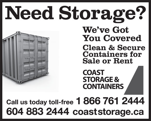 Coast Storage & Containers (604-883-2444) - Display Ad -
