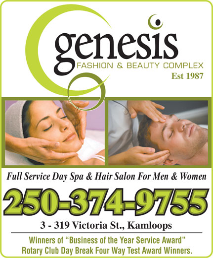 Genesis Fashion & Beauty Complex (250-374-9755) - Display Ad -