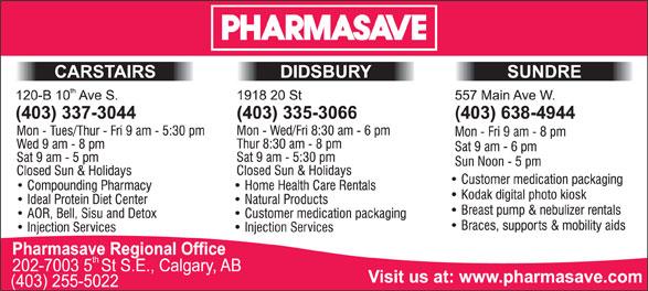 Pharmasave (403-638-4944) - Annonce illustrée======= -